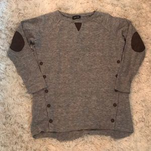 Sweaters - Grey Sweater with Brown Elbow Patches